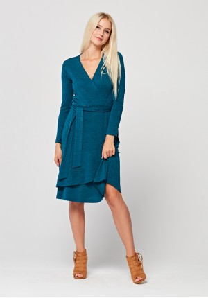 Tied turquoise dress