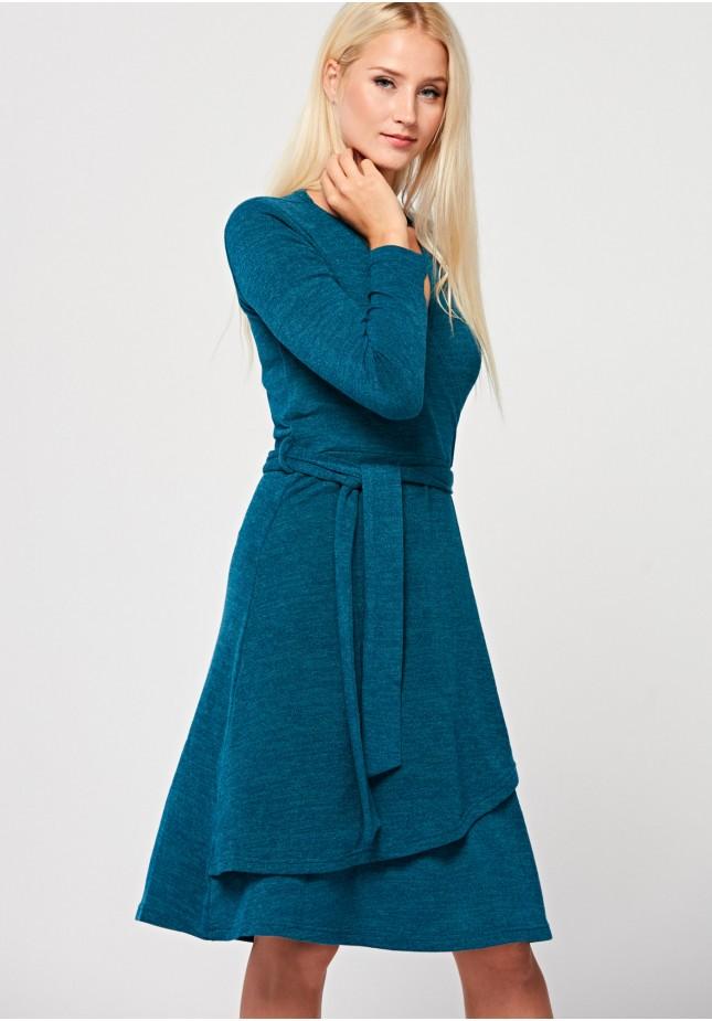 Wiązana turkusowa sukienka