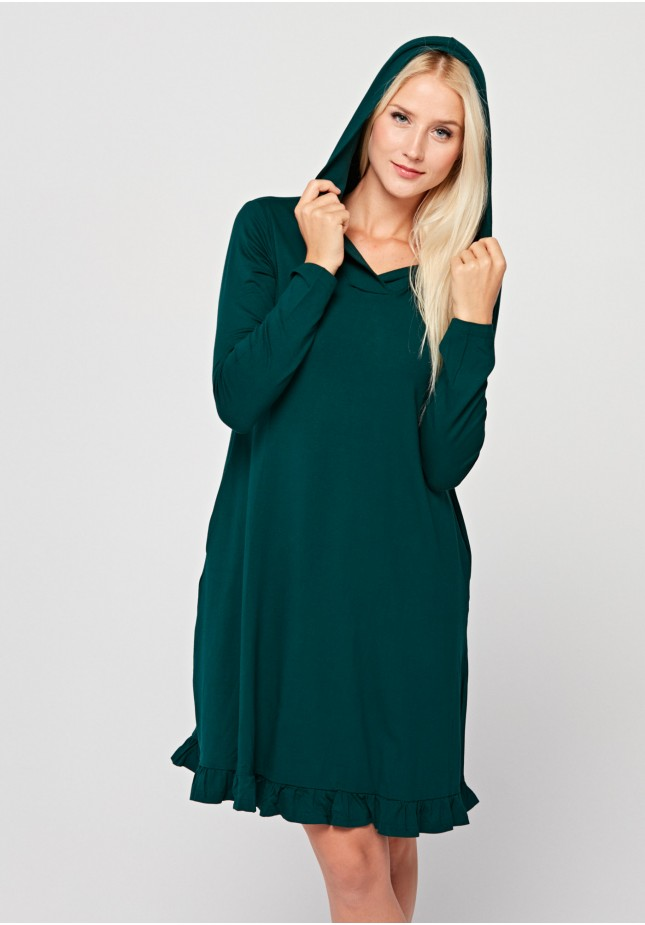 Green dress with a hood