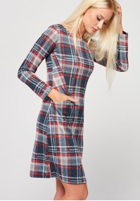 Fitted red checkered dress