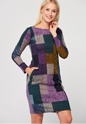 Knitted dress with squares