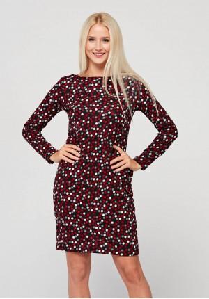 Dzianinowa sukienka w groszki