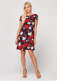 Trapezoidal Dress with red and white flowers