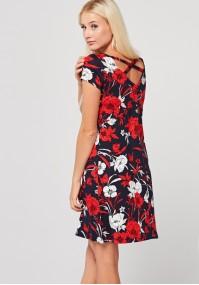 Trapezowa Sukienka w czerwone i białe kwiaty