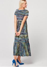 Długa sukienka w kolorowe paski