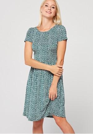 Ocinana sukienka w drobne kwiatki