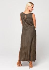 Długa sukienka w delikatne brązowe paski