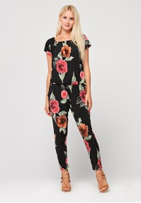 Black jumpsuit with flowers