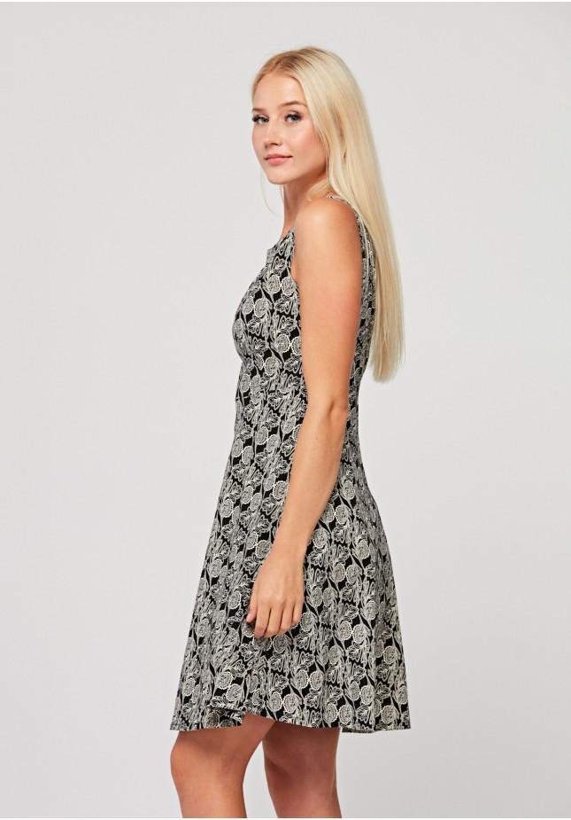 Elegancka sukienka w białe liście
