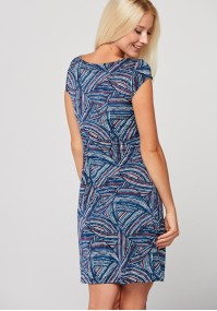 Simple fitted dress with colorful pattern