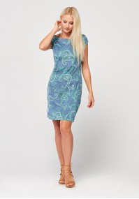 Fitted dress in the color of jeans