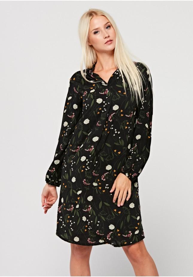 Prosta sukienka ze stójką w delikatne kwiatki