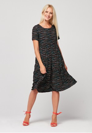 Dress with frills and colorful stripes
