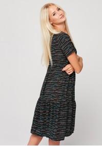 Sukienka z falbanami w kolorowe paseczki