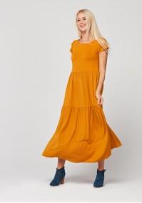 Musztardowa sukienka maxi
