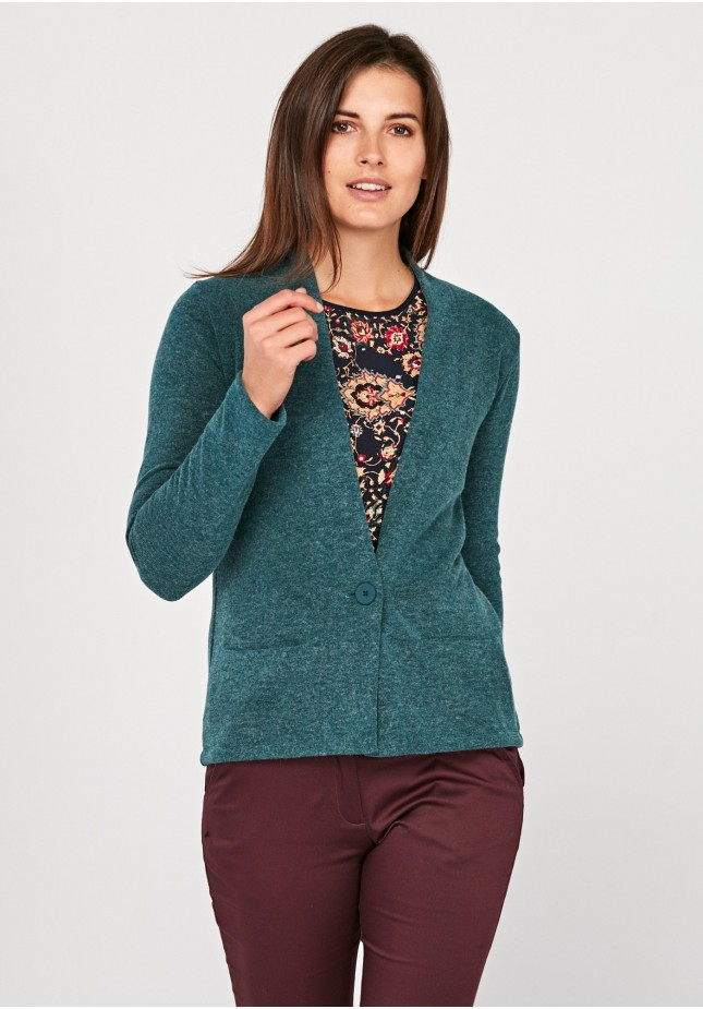 Turquoise Sweater with button