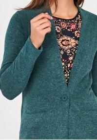 Turkusowy Sweter z jednym guzikiem