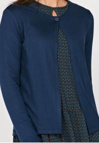 Granatowy Sweter na jeden guzik