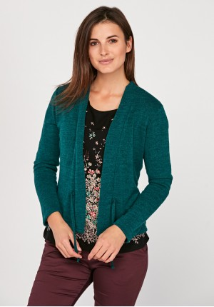 Green tied sweater