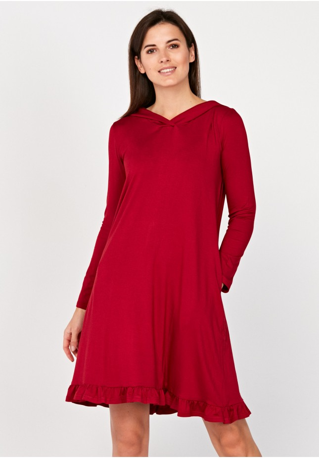 Red dress with a hood