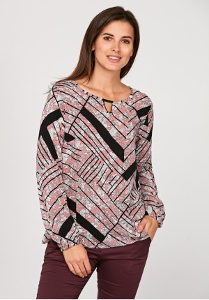 Blouse with flowers and stripes