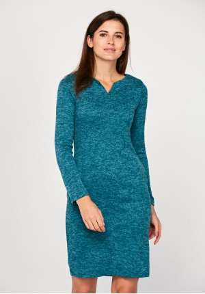 Fitted turquoise dress
