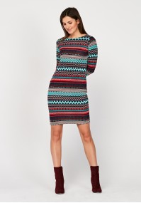 Fitted knitted dress with red patterns
