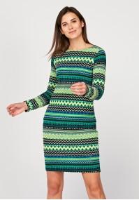 Dopasowana dzianinowa sukienka w zielone wzory