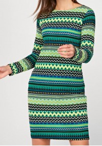 Fitted knitted dress with green patterns