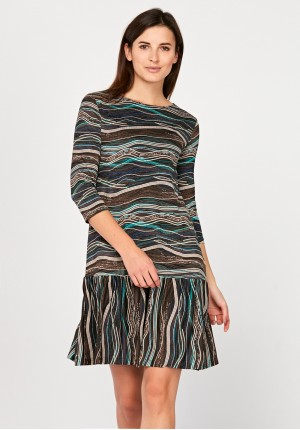 Dress with beige and brown patterns
