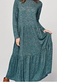 Długa dzianinowa sukienka