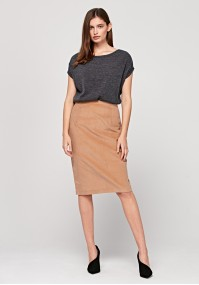 Ołówkowa beżowa spódnica