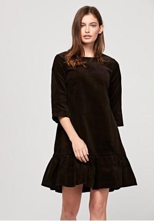 Brązowa sztruksowa sukienka
