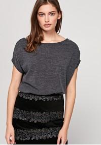 Swetrowa bluzka z krótkim rękawem