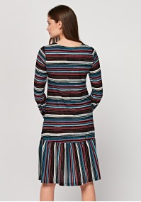 Dress with frill and stripes