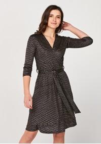 Wiązana brokatowa sukienka