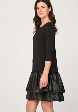 Dress with leather frill