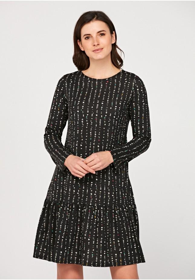 Trapezoidal dress with geometrical print
