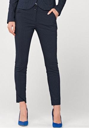 Granatowe Spodnie w kropki