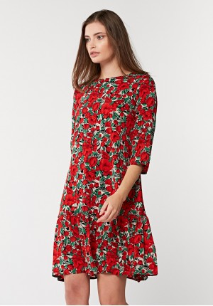 Dress with red flowers