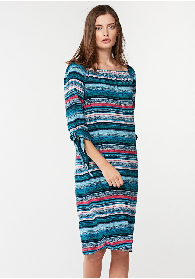 Turquoise dress with stripes