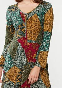 Flared dress with colorful pattern