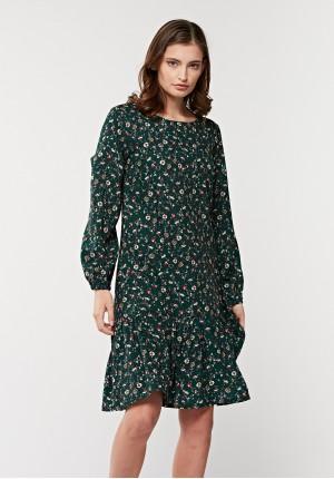 Zielona sukienka z falbaną