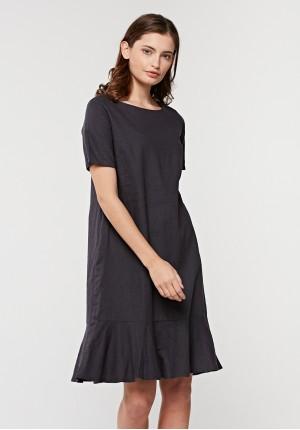 Lniana sukienka z falbaną