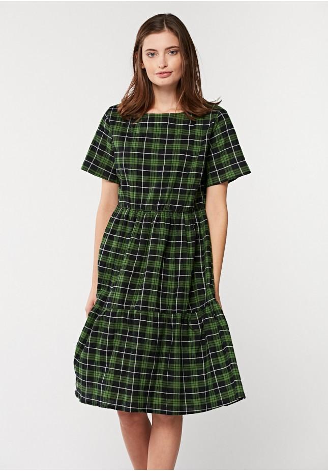 Zielona sukienka w kratkę