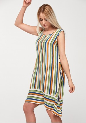 Trapezoidal dress with stripes