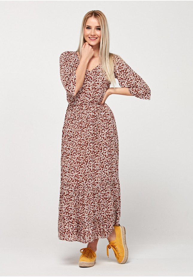 Maxi brązowa sukienka
