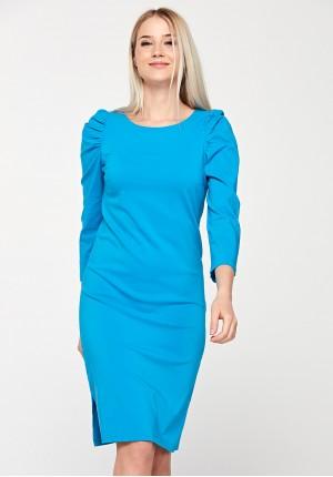 Dopasowana sukienka z bufkami