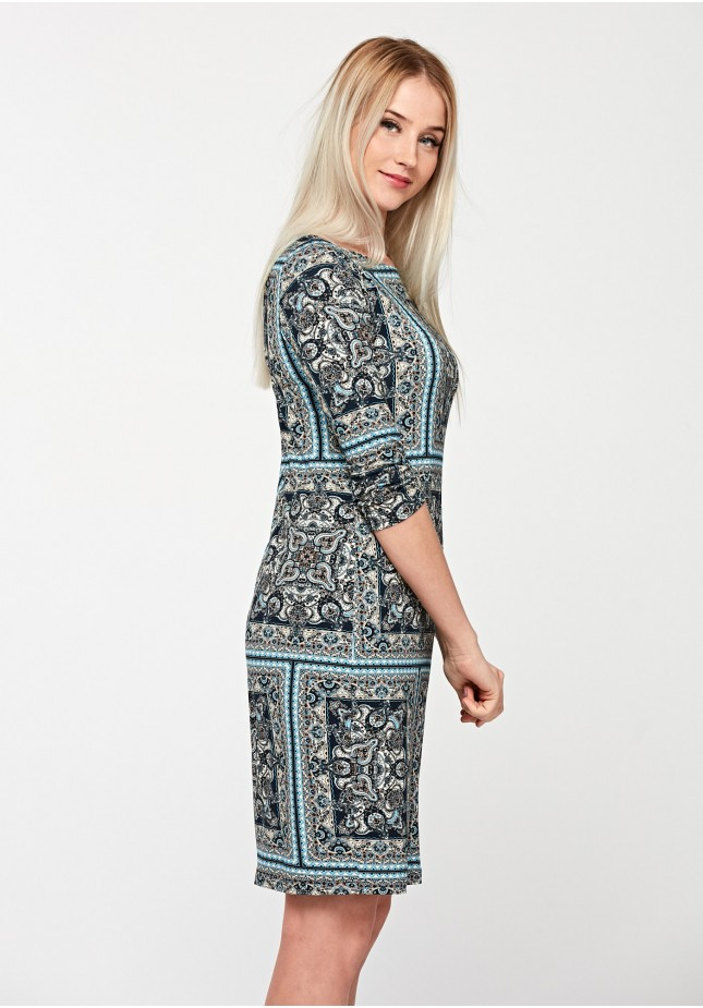 Dress with ethnic pattern