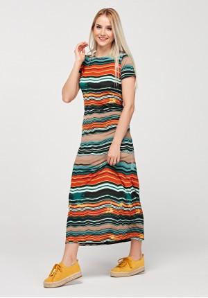 Długa sukienka w paski